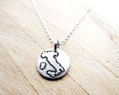 Tiny map of Italy necklace, silver Italia pendant