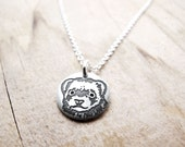 Tiny Ferret Necklace in silver, pet remembrance jewelry