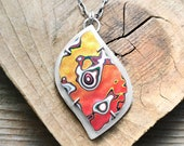 Fordite necklace in sterling silver, orange and yellow statement necklace, gift for her