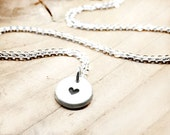 Teeny tiny silver heart necklace, dainty heart on delicate chain, gift for mom, daughter or wife