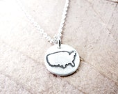 Tiny USA necklace, silver map United States pendant America jewelry