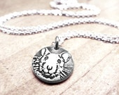 Tiny silver rat necklace, fancy rat memorial necklace, gift for rat lover