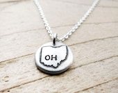 Tiny Ohio necklace, silver state jewelry, silver map pendant