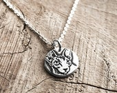 Sphynx Cat Necklace Handmade in Silver - Dainty!