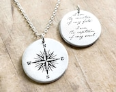 Compass Necklace in sterling silver with Invictus quote for women and men, graduation or retirement gift, I am the master of my fate