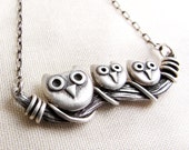 Owl family necklace in sterling silver, gift for wife or mom
