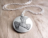 Red tail hawk necklace, silver hawk jewelry