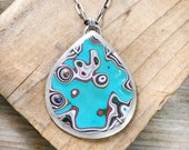 Aqua Fordite necklace in sterling silver