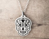 Sugar skull necklace in sterling silver, Day of the Dead jewelry