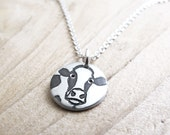 Tiny cow necklace, silver Holstein dairy cow jewelry, 4H gifts
