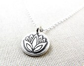 Tiny silver Lotus flower necklace, yoga jewelry