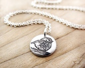Tiny Chickadee necklace in silver, bird jewelry, gift for wife or girlfriend