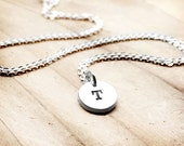 Teeny tiny silver initial necklace, personalized necklace, gift for her, mom necklace, initial pendant