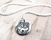 Tiny Husky necklace in silver, dog memorial jewelry