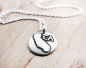Tiny state necklace, California jewelry silver map pendant