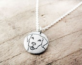 Tiny Yellow Labrador Retriever Necklace in Silver, Lab jewelry, Pet Parent Gift