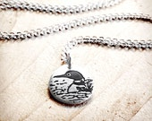 Tiny loon necklace in silver
