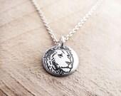 Tiny silver lion necklace, leo jewelry