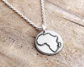 Tiny map of Africa necklace, silver map jewelry, Africa pendant, Africa jewelry