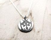 Tiny Alaskan Klee Kai necklace silver, dog memorial jewelry