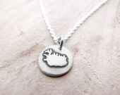 Iceland Necklace, Iceland Jewelry in Silver, Map necklace, Iceland Charm, Travel Gift