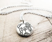 Tiny bulldog necklace in silver, dog memorial jewelry, pet parent gift