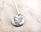 Tiny silver chicken necklace, gift for backyard chicken lover