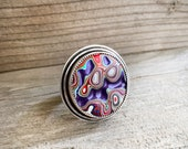 Adjustable Fordite ring in sterling silver, purple Detroit agate cocktail ring, gift for her