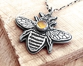 Little bee necklace in sterling silver and Citrine, honey bee jewelry