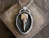 Raven skull necklace shadow box necklace in bronze and sterling silver