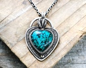 Sacred heart necklace with cast succulent flame and turquoise cabochon, handmade and ready to ship