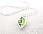 Tiny green leaf necklace, concrete and sterling silver, concrete jewelry, wife gift, gift for mom, girlfriend gift, daughter gift
