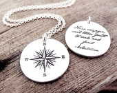 Compass rose necklace w quote for men and women, traveler or graduation gift, Voyager, mens jewelry, gift for retirement, going away