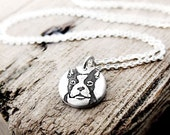 Tiny Boston Terrier necklace in silver, dog memorial jewelry
