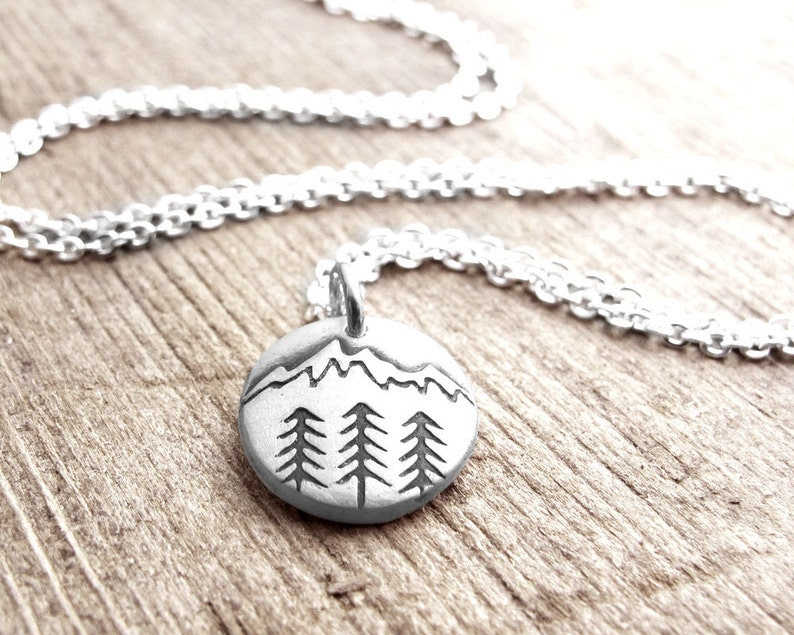 Tiny mountain necklace in silver trees and mountain pendant image 0