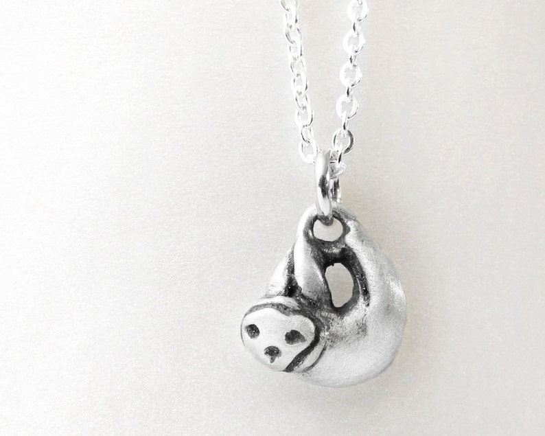 Sloth necklace sterling silver sloth jewelry very tiny sloth image 0