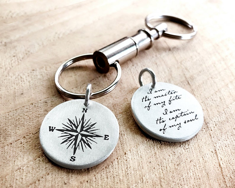 Graduation gift compass keychain w Invictus quote in sterling image 0