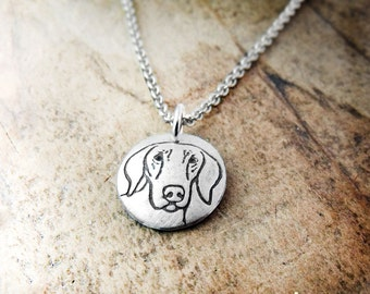 Tiny Weimaraner necklace in silver, dog memorial jewelry