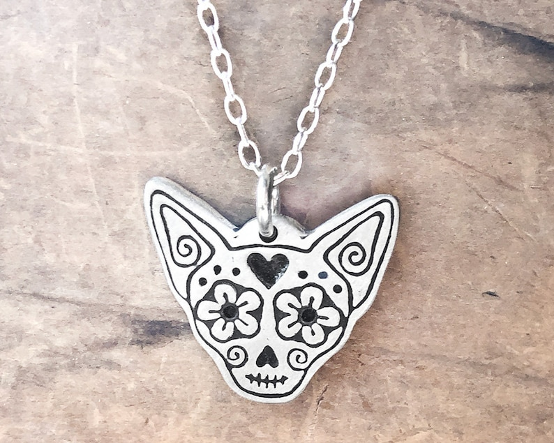 Chihuahua sugar skull necklace in sterling silver Day of the image 0