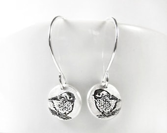 Tiny Chickadee earrings in silver, gift for mom