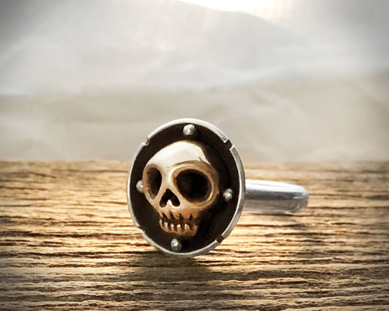 Sterling silver and bronze skull ring image 0