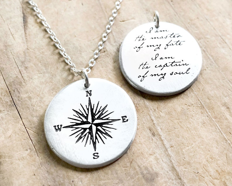 Compass Necklace in sterling silver with Invictus quote for image 0