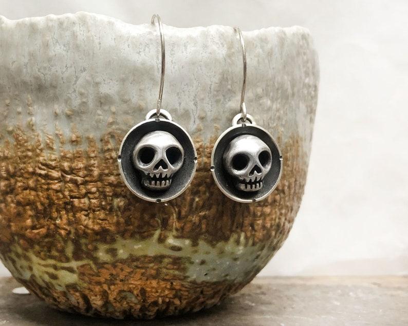 Little skull earrings in sterling silver image 0