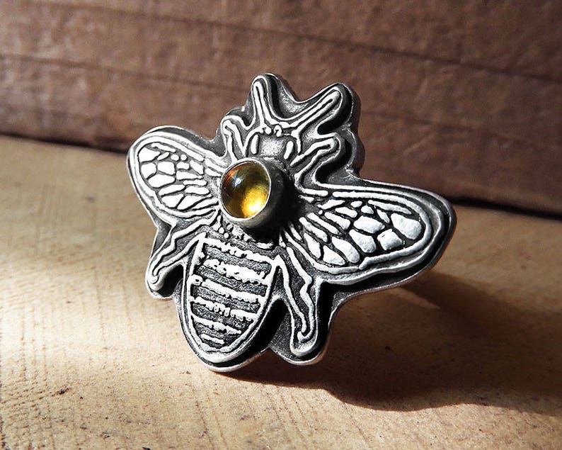 Bee ring in sterling silver and Citrine image 0