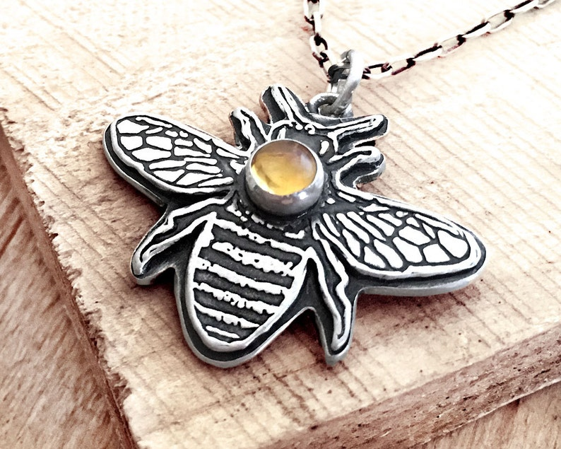 Little bee necklace in sterling silver and Citrine honey bee image 0