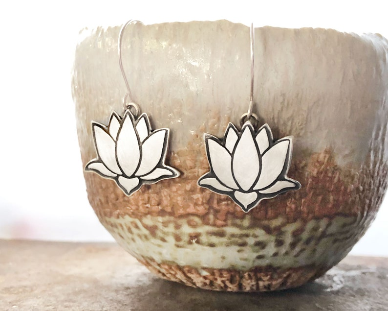Sterling silver Lotus flower earrings image 0