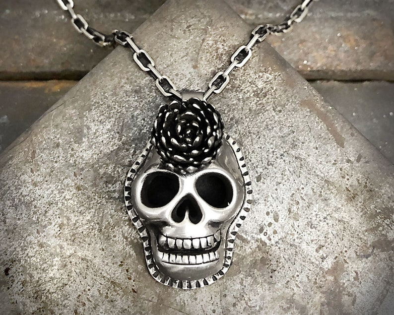 Sterling silver sugar skull necklace with cast succulent image 0