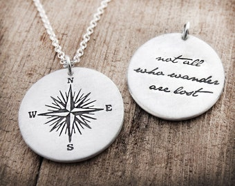 Compass necklace, Not all who wander are lost, sterling silver compass rose, compass jewelry for women and men, graduation gift, going away