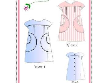 Nancy, PDF Dress Pattern, Sz 12mo to 4