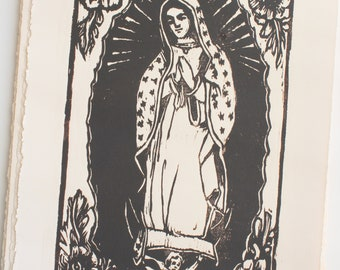 Woodblock Print Our Lady of Guadalupe, Virgin Guadalupe Block Print, Virgin Mary Wall Art, Mother Mary Gifts, Original Art by Michelle Farro